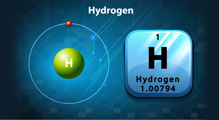 Visualization of the chemical element hydrogen from the periodic table.